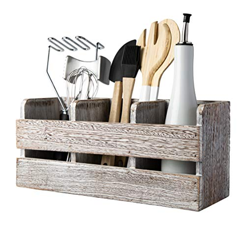 Farmhouse Utensil Organizer for Kitchen Countertop  Wooden Utensil Crock with 3 Large Storage Compartments amp Hanging Option  Rustic Spatula Holder Caddy in Distressed White  Size