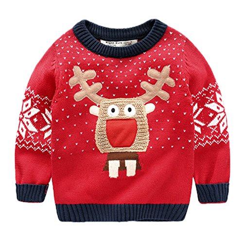 EOZY-Mgalione Bambino Unisex Girocollo Magia Knit Alce Natale Caldo Spessore Pullover Casual Rosso