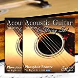2 SETS! ADAGIO PRO Acoustic Guitar Strings Light - Gauge 11-50 Phosphor Bronze