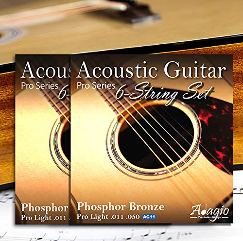 2 SETS!  ADAGIO PRO Acoustic Guitar Strings Light - Gauge 11-50 Phosphor...