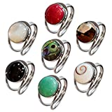 Fly Style offener Fingerring für Damen aus 925 Silber mit Muschel- oder Schmuckstein-Inlays, Farbwahl:grün