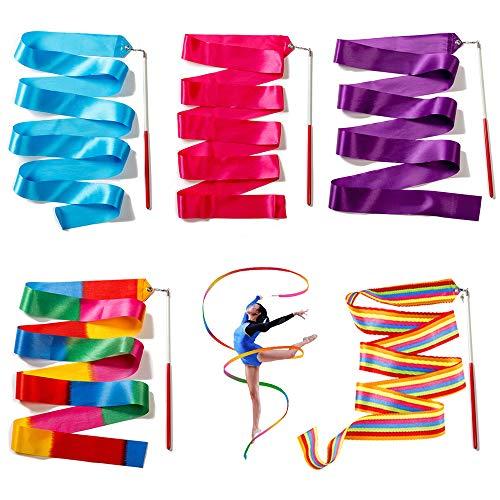 Ceqiny 5 Stück Rhythmic Gymnastics Bänder 2m Tanzbänder Streamer Gymnastik Bänder Rhythmikband Schwungband mit Stab Tanz Bänder für Kunst Tanz Ballett Twirling, 5 Farben