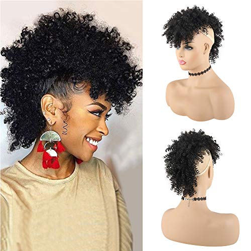 KRSI Afro High Puff Hair Bun Ponytail Drawstring With Bangs Synthetic Jerry Curly Mohawk Kinkys Curly Fauxhawks Pony Tail Clip in on Ponytails for Women Hair Extensions with six Clips. (1B)