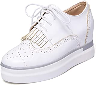 Judy Bacon Women's Round Toe Tassel Platform Wedge Oxfords Shoes Wingtip Lace Up Chunky High Heel Dress Shoes