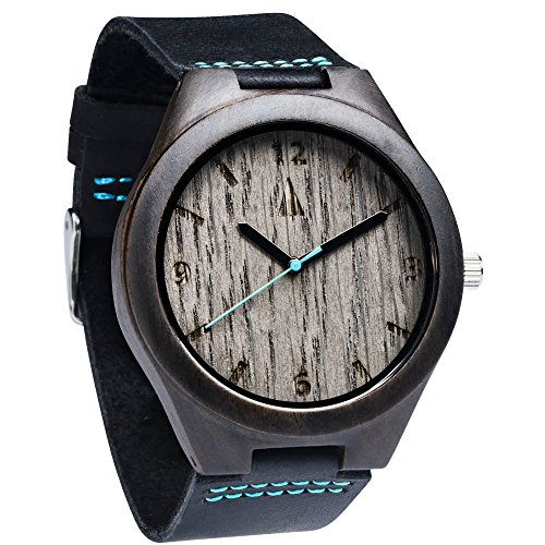 Treehut Mens Ebony Wooden Silver Oak Watch with Genuine Black Leather Strap Q.
