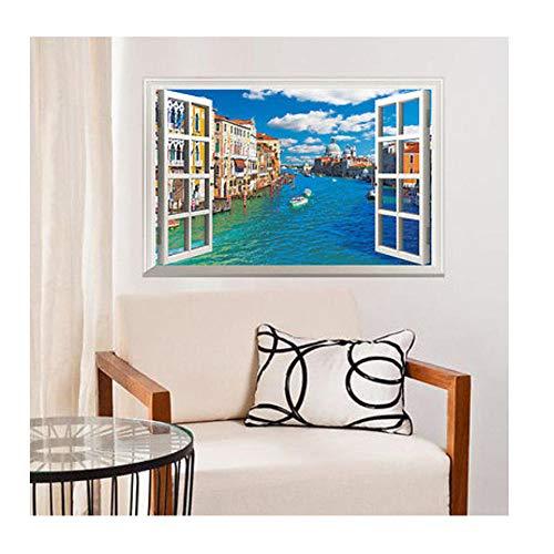 Wandaufkleber 3D Window View lake building landscape Wall Sticker Mural Vinyl Decals living room bedroom kids room Home Decor 60x90cm
