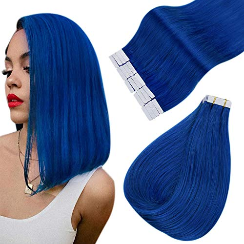 Easyouth Tape in Hair Extension Cheveux Adhesif Blue Cheveux Humain Naturel Brésilienne Extension Adhesive Cheveux Naturel 20g 12pouces 10pcs