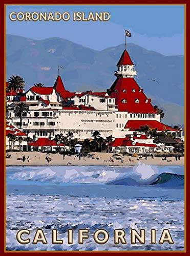 OKWallArt Kit de peinture diamant 5D à faire soi-même - Pour adulte - Coronado île de San Diego, Californie, États-Unis, publicité de voyage - Couverture complète - 30 x 40 cm