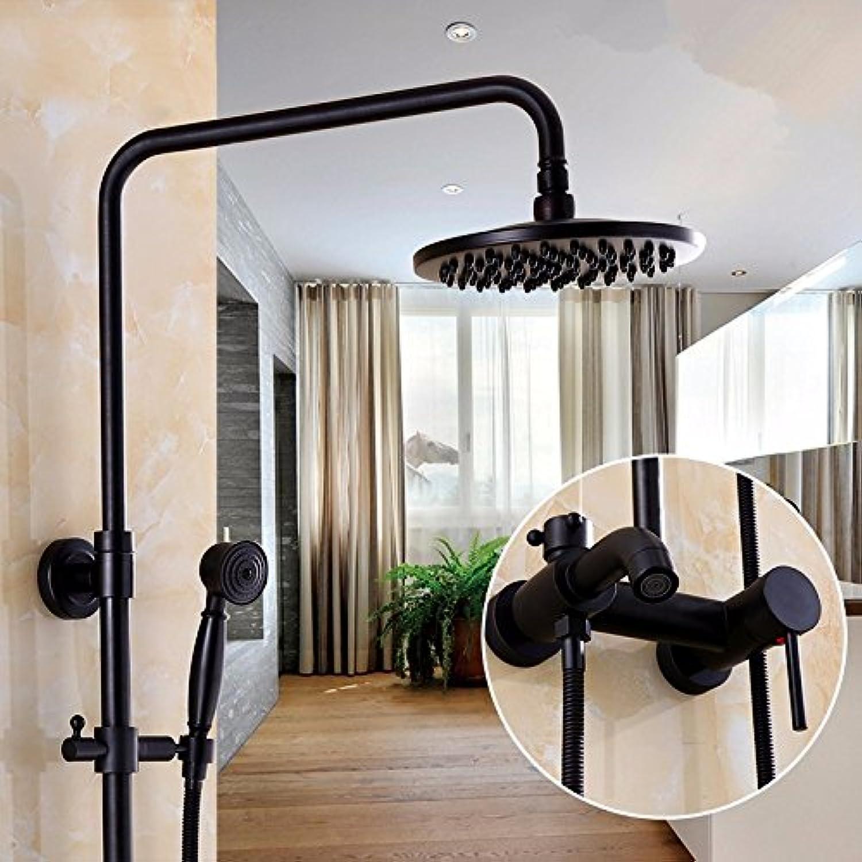 PEIWENIN-Badezimmer schwarz Druckdusche gesetzt voll Kupfer Europische antike Dusche Dusche kann Aufzug Dusche Wasserhahn, E