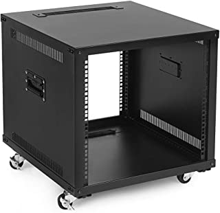 NavePoint 9U Portable Rolling Network Rack, Adjustable Depth 2.5 to 22.6 Inches, Top and Bottom Cable Management, Built-in...
