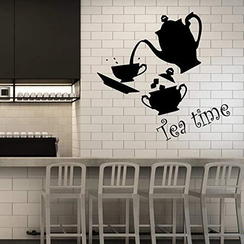 Fotobehang keuken decor set mok en theepot vinyl raamglas sticker café muurschildering