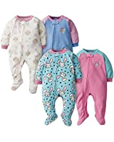 GERBER Baby Girls' 4-Pack Blanket Sleeper, Bunny/Bear, 3T