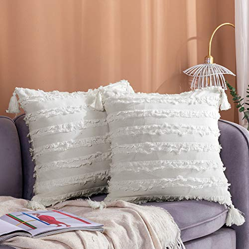 Longhui bedding Decorative Cotton Linen Ivory White Throw Pillow Covers with Tassels Fringe - 18x18 Inches Cushion Covers with Invisible Zipper for Couch, Sofa and Bedroom, Set of 2