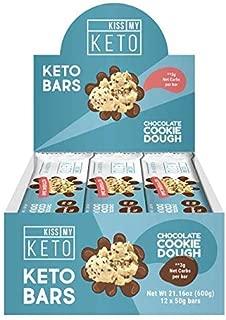 Kiss My Keto Snacks Keto Bars – Keto Chocolate Cookie Dough, Nutritional Keto Food Bars, Paleo, Low Carb/Glycemic Keto Friendly Foods, All Natural On-The-Go Snacks, Quality Fat Bars, 3g Net Carbs
