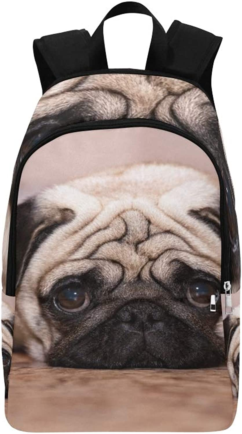 Dog Pug Lies On Floor Casual Daypack Travel Bag College School Backpack for Mens and Women