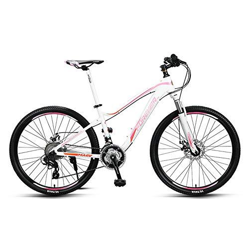 Bicicleta, bicicleta de montaña, bicicleta de doble choque de 27 velocidades, con marco de aleación de aluminio, para mujeres y adolescentes, no es fácil de deformar, fácil de instalar, antidesli