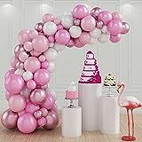 Kit di palloncini con arco per palloncini, 100 pezzi Bianco Rosa Kit di Palloncini per decorazioni di compleanno, feste, matrimoni, decorazioni per feste