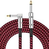 Dopkav Cable Jack Guitare Electrique, Cable Instrument 3 Mètres, 6.35mm(1/4') Mâle à Mâle Tête Droite et Tête Coudée, Cable pour Guitare, Basse, Amplificateur, Audio, Clavier Electrique
