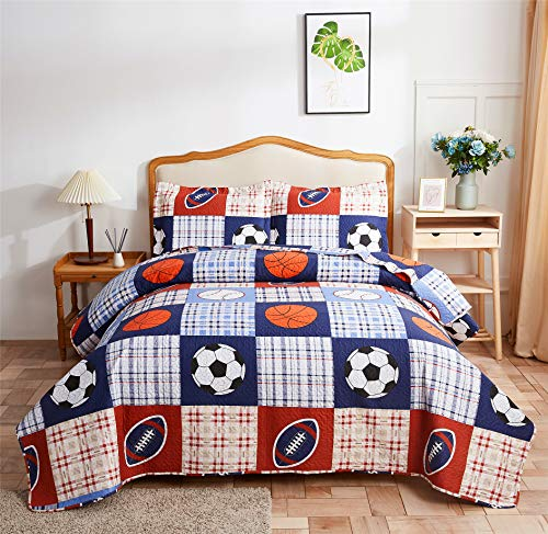 Boys Girls Plaid Sport Bedspread Coverlet Rugby Football Soccer Basketball Baseball Printed Bedding Set,All-Season Reversible Quilt Set King Size for Teens,Children,Sports Fans (King,Blue)