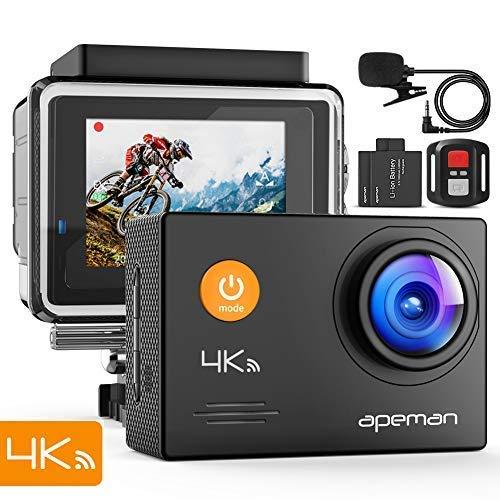 APEMAN Action Cam A79, 4K 16MP Wi-Fi Impermeabile 40M con Telecomando e Microfono Esterno Fotocamera Subacquea Digitale, Anti-Shaking Stabilizzazione