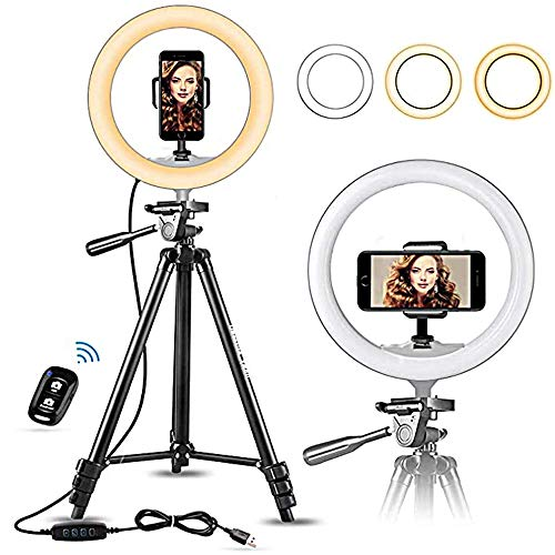 TIAS 10-Zoll-LED-Ringlicht mit Stativständer Selfie-Kamera Lampe Telefonhalter Studio-Video Dimmbare LED-Fülllicht 270-Grad-Plattenspieler Ringlampe Fotografie Live-Stream