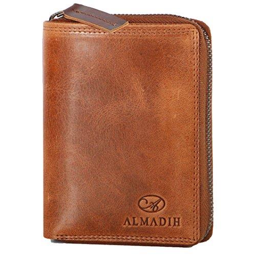 ALMADIH Premium Leder Portemonnaie RFID-Schutz hochformat mit Reißverschluss 17 Kartenfächer in Geschenkbox Rindsleder P2H-RV BD - Herren Geld-börse Geldbeutel Portmonee Brieftasche braun (P2H-RV Tan)