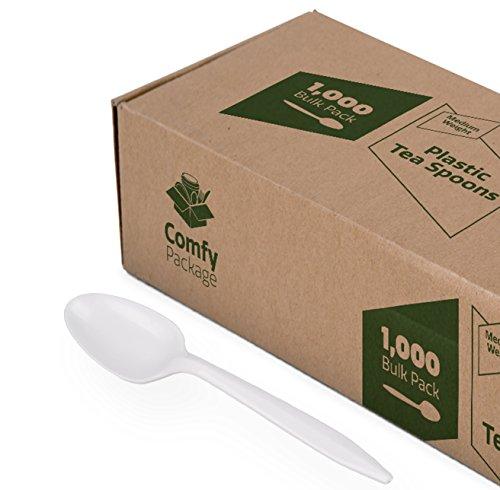 [1000 Pack] Plastic Tea Spoons Lightweight - White