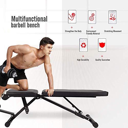 FULLWATT Adjustable Weight Bench, 440 lbs Capacity Exercise Bench Foldable Utility Weight Bench for Full Body Workout, Multi-Purpose 8 Back Pad Positions Workout Bench Adjustable with Pull Strings