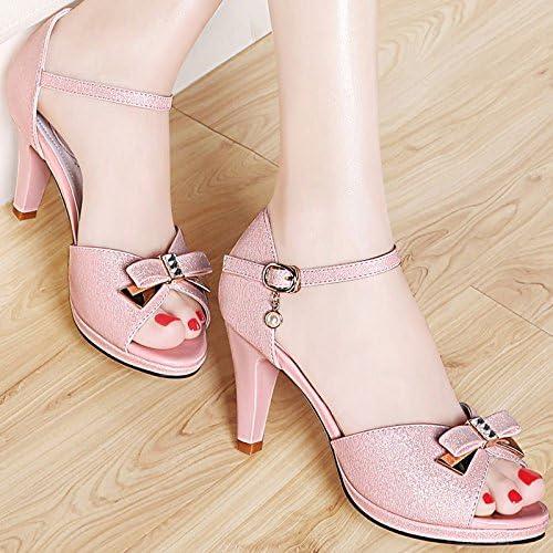 Ajunr-Chaussures Pour Femmes à La Mode La Fille De 8Cm Sandales High-Heeled Sucré Simple Poisson Fin De L'été Avec La Pointe De Buse Pour L'Humidité