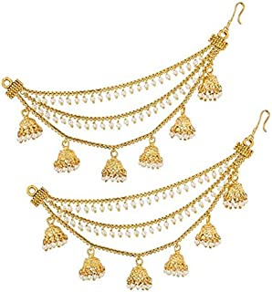 Steorra jewels Golden String White Beads Hair Chain with Small Jhumki for Women