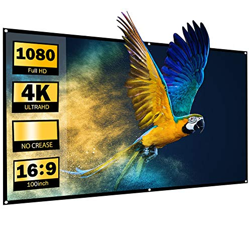 HOMPOW Projector Screen, 100 inch 16: 9 Foldable Projection Screen, Portable Wall Mounted Screen For Home Theater, Conference, Classroom, Hook Included