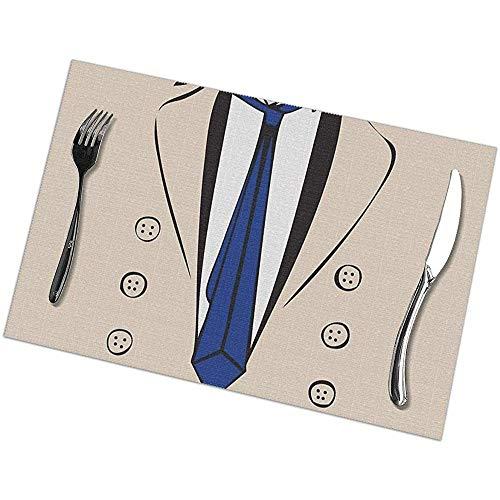 GuyIvan Castiel Trenchcoat Tee Tisch Tischsets Set mit 6 Tischsets, Good Vibes rutschfeste Küchenmatten