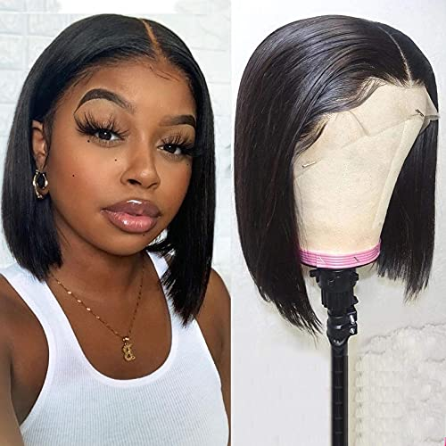 Straight Bob Wig Lace Front Wigs Human Hair Pre Plucked Brazilian Hair 13x1 T Shape Middle Part Straight Human Hair Wigs for Black Women 150% Density Short Bob Frontal Wigs Natural Color 10inch