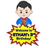 Personalized Superhero Birthday Party Baby Shower Welcome Door Sign - Optional Superheros Superman, Batman, Captain America, Wonder Woman - Decorations Invitations, Favor Tags, Thank Yous - BCPCustom