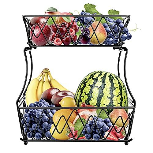 Alzatina Portafrutta, Fruttiera in Metallo, Cesto per la frutta per verdura, frutta, pane, porta frutta a 2 strati