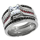Panvisionary Stainless Steel Engagement Three Ring Set CZ with Red and Black Accents (11)