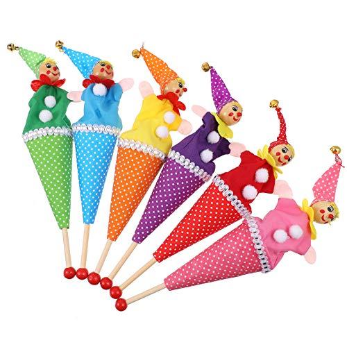 TOYANDONA 6 Piezas de Marionetas de Payaso, Títeres de Dedo Retráctiles Títeres de Mano de Payaso Títeres de Mano de Peluche para Niños Juguetes Novedosos