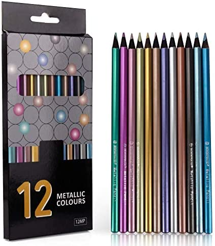 12 Count Metallic Colored Pencils Black Wood Drawing Pencils Assorted Colors Wooden Sketching product image