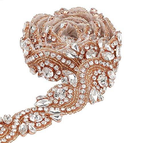QueenDream Rose Gold 1 Yard Wedding Belt Rhinestone Applique Bridal Applique Trim Crystal Applique Belt Ribbon Rhinestone Applique for Wedding Dress Silver Edge