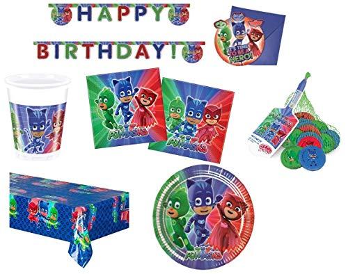 BIGIEMME S.R.L. Coordinato per Feste e Compleanni a Tema pj Mask pigiamini + retine al Cioccolato al Latte(Piatti-Bicchieri-tovaglia-tovaglioli-Festone-inviti) (per 24 Persone)