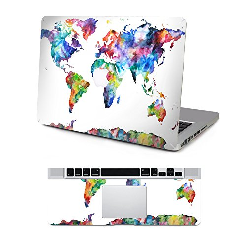 Vati Leaves Removable Colorful World Map Protective Full decal Vinyl Art Skin Decal Sticker Scratch resistant