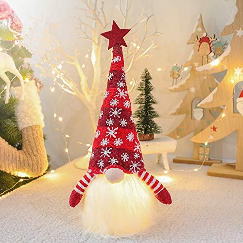 Micacorn Gnomo Natalizio Illuminato Babbo Natale, Decorazione Natalizia Nordica Fatta a Mano in Peluche Scandinavo Tomte Svedese, Decorazioni Natalizie da Tavolo a Batteria (Rosso)