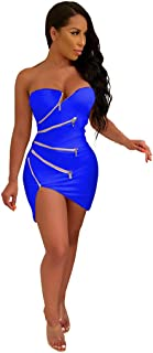 QIQIU Women's Sexy Breast-Wrapping Irregular Zip Fashion Nightclub Style Bandeau Party Club Dress