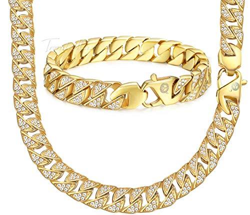 Heren Ketting Set LRVS Diamond Plated Ketting Goud 316L RVS Ketting + Armband Met Diamant Accessoires