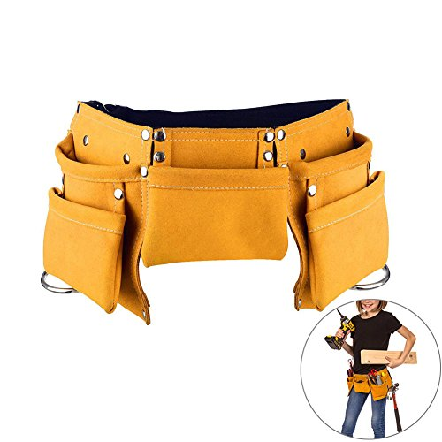 (Yellow) - Children's Leather Tool Belt, DesignerBox Kids Leather Working Tool Belt Child's Tool Apron Pouch Bag for Youth Costumes Dress Up Construction Role Play (Yellow)