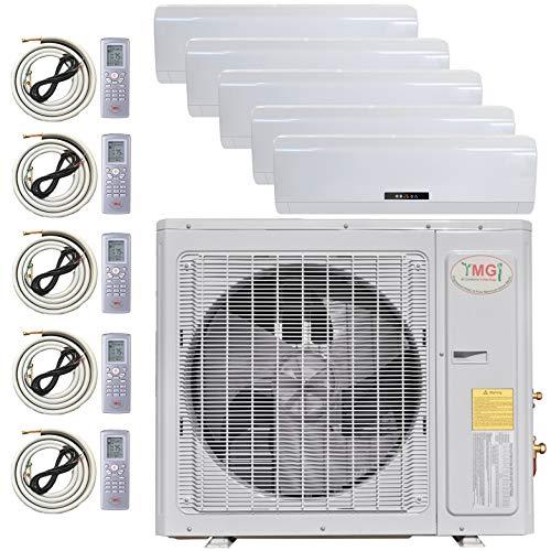 YMGI Multi Zone Mini Split Ductless Air Conditioner - Five Zone 9000 + 9000 + 12000 + 12000 + 24000-5 Zone Pre-Charged Inverter Compressor - Includes Five Free 25