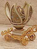 Caja de anillos musicales de carruaje de oro de 24 quilates, diseño de Fabergé, estilo antiguo, único, hecha a mano, 3 unidades, regalo para prometid