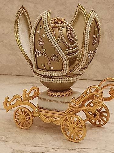 RARE Antique Faberge style Unique HANDMADE Masterpiece 24k Gold Carriage MUSICAL Ring box Gift for fiance wife bride 2ct Swarovski 1.8ct Bridal Shower Wedding Anniversary Collector Vintage 1988