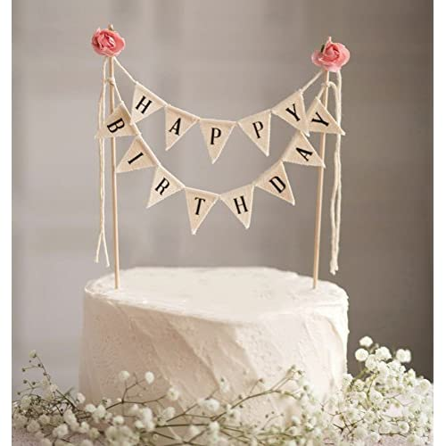Soccerene Happy Birthday Cake Bunting Topper Garland Handmade Pennant Flags With Wood Pole