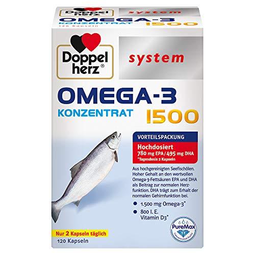 Doppelherz system OMEGA-3 KONZENTRAT 1500 – Hoher Gehalt an wertvollen Omega-3-Fettsäuren EPA und DHA als Beitrag zur normalen Herzfunktion – 120 Kapseln
